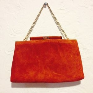 Vintage Ande Brown Suede Clutch with Chain Strap